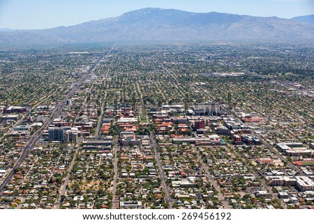 Aerial view of Tucson and the University of Arizona campus looking towards the east