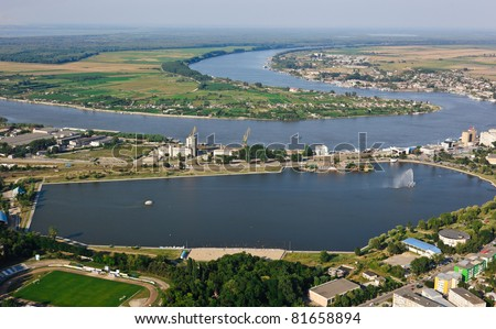 aerial view of tulcea city, romania - stock photo