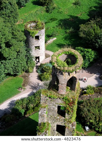 Aerial view of two of Blarney Castles towers and the lush green surroundings - stock photo