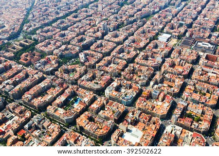 Aerial view of typical buildings at Eixample residential district. Barcelona, Spain - stock photo