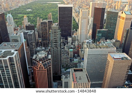 Aerial view of Upper Manhattan and Central Park - New York City, USA - stock photo