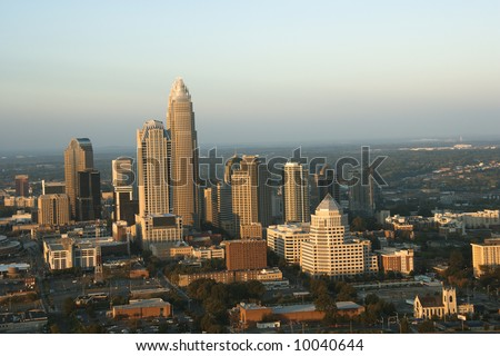 Aerial view of uptown buildings in Charlotte, North Carolina. - stock photo