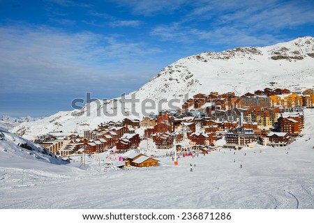 Aerial view of Val Thorens, trois vallees complex, France - stock photo