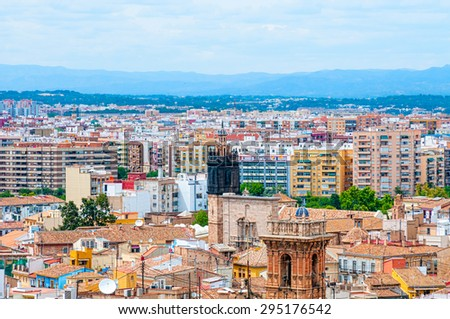 Aerial view of Valencia, Spain - stock photo