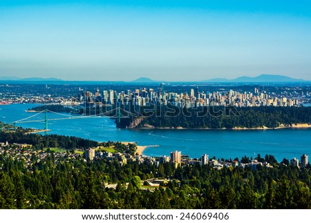 Aerial view of Vancouver, Canada - stock photo