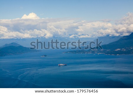 Aerial View of Vancouver Island and the Pacific - stock photo