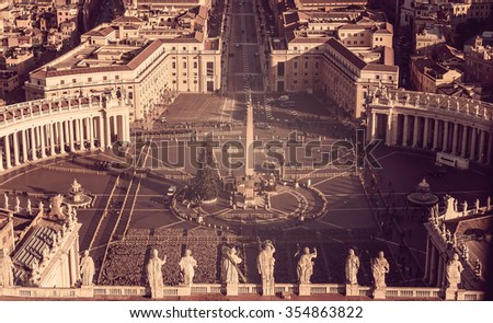 Aerial view of Vatican City and Rome, Italy: St. Peter's Square in Christmas  - stock photo