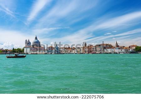 Aerial view of Venice, Grand canal, Basilica Santa Maria della Salute. Italy - stock photo