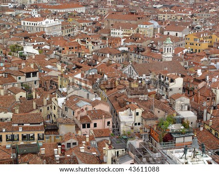 Aerial view of Venice. Roofs of houses  and palaces from San Marco tower - stock photo