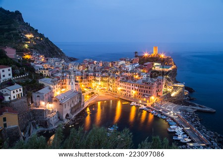 Aerial view of Vernazza - small italian town in the province of La Spezia, Liguria, northwestern Italy. - stock photo