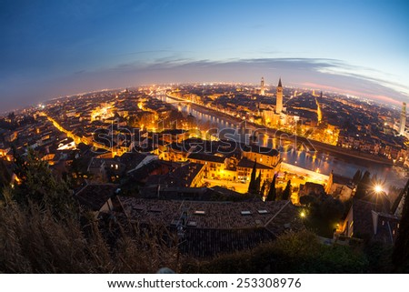 Aerial view of Verona at night