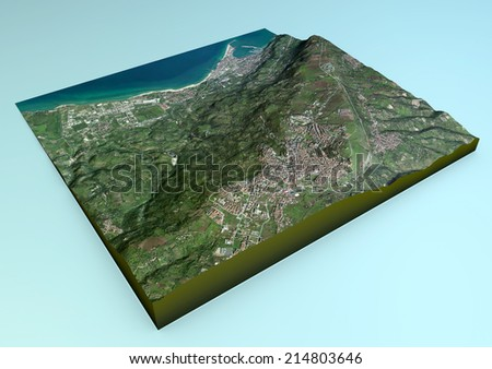 Aerial view of Vibo Valentia and the surrounding area map in 3d. Element of this image are furnished by Nasa