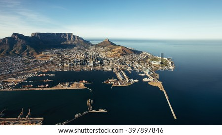 Aerial view of Victoria & Alfred Waterfront and Cape Town Harbour. Commercial docks and jetty on the sea. - stock photo