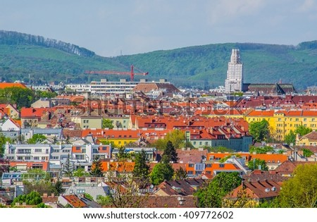 Aerial view of vienna taken from the gardens of schonbrunn palace - stock photo