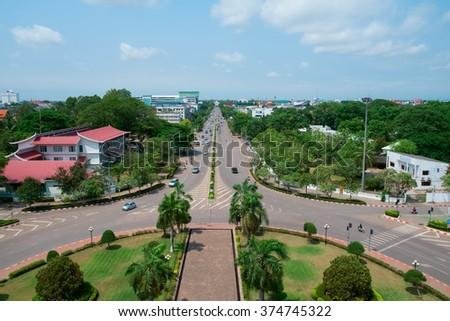 Aerial view of Vientiane from Patuxai Monument, Laos, Southeast Asia - stock photo
