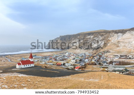 Aerial view of Vik (Vik i myrdal) city in winter cloudy day, Southern Iceland.