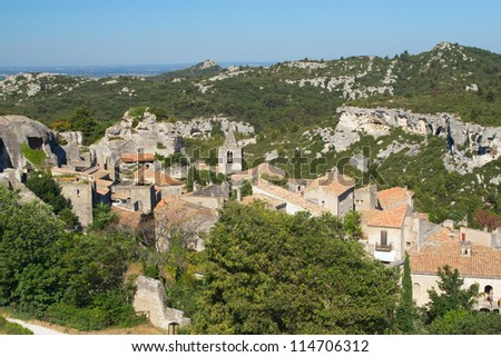 Aerial view of village Les Baux de Provence in South France - stock photo