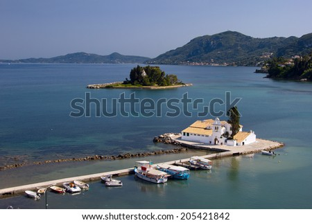 Aerial view of Vlacherna Monastery and Pontikonisi Island (also called Mouse island), Corfu, Greece.  - stock photo