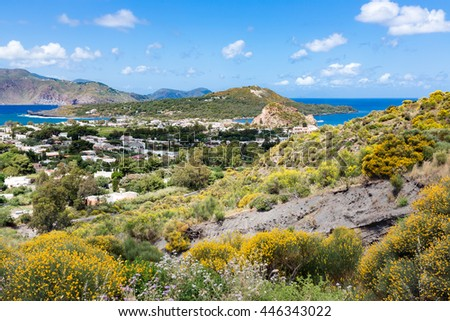 Aerial view of Vulcano, one of the Aeolian Islands near Sicily, Italy - stock photo