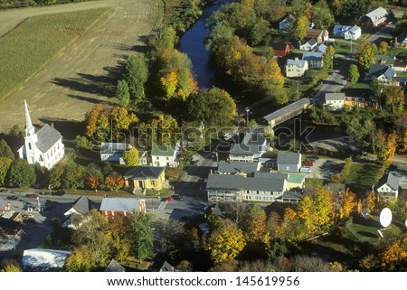 Aerial view of Waitsfield, VT and the Mad River on Scenic Route 100 in Autumn - stock photo