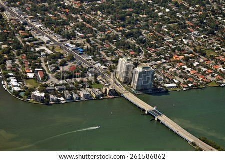 Aerial view of waterfront neighborhood in Miami Florida - stock photo