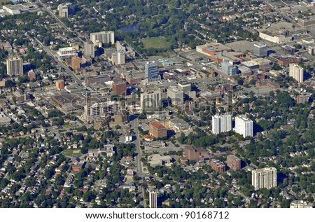 aerial view of Waterloo Victoria Park area in Kitchener-Waterloo, Ontario Canada - stock photo