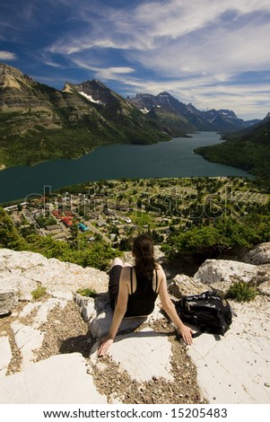 Aerial View of Waterton Townsite - stock photo