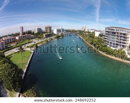 Aerial view of waterway and boating in Boca Raton Florida