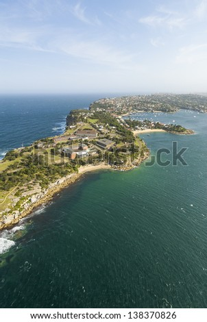 Aerial view of Watson's Bay and Camp Cove on the rugged outskirts of Sydney, Australia - stock photo
