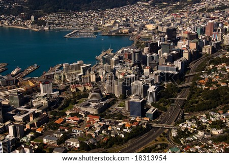 Aerial View of Wellington, New Zealand - stock photo