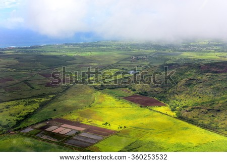 Aerial view of west coast of Kauai Island, Hawaii - stock photo