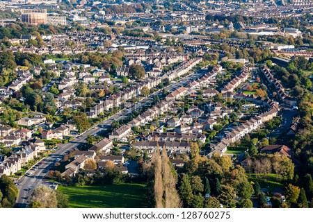 Aerial view of western side of the City of Bath in England, UK