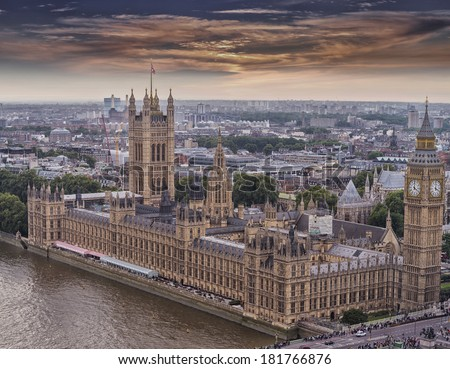 Aerial view of Westminster, London. - stock photo