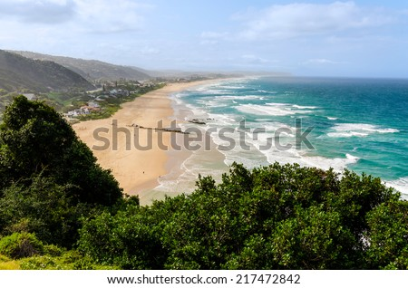 Aerial view of Wilderness Beach in South Africa - stock photo