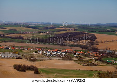 aerial view of wind farm landscape