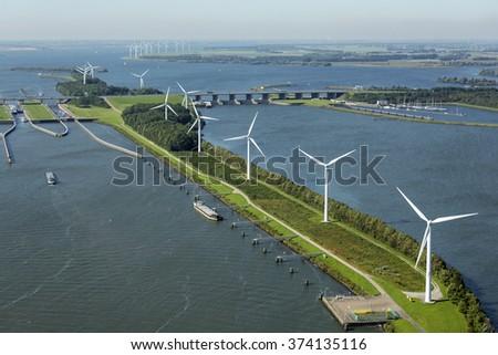 Aerial view of  wind turbine farm at the Hellegatsplein, The Netherlands.  - stock photo