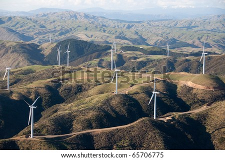 Aerial View of Wind Turbines, Wellington, New Zealand - stock photo