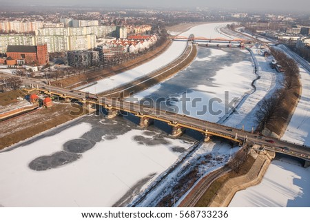 aerial view of winter Wroclaw city in Poland