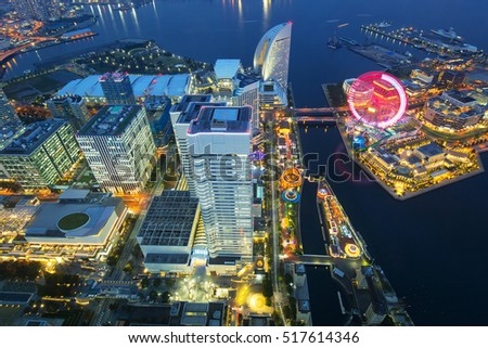 Aerial view of Yokohama city at dusk, Japan