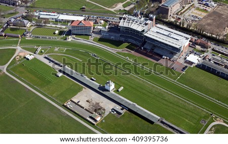 aerial view of York Racecourse, a horse racing track in Yorkshire, UK - stock photo