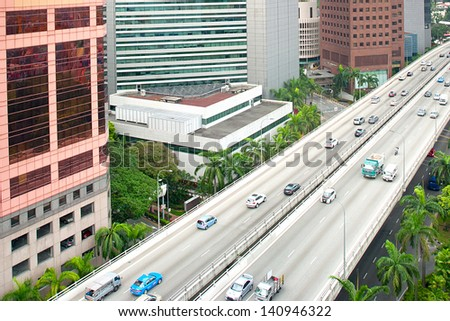 Aerial view on a highway in Singapore - stock photo
