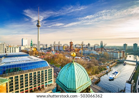 Aerial view on Alexanderplatz and Spree river, Berlin, Germany