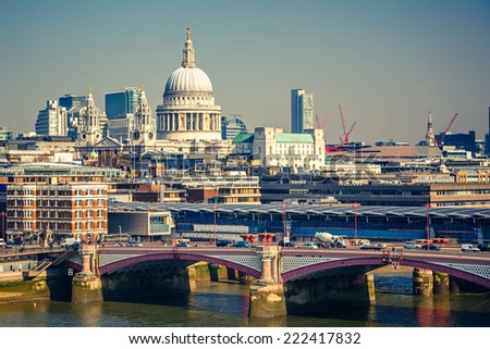 Aerial view on Blackfriars bridge and city of London - stock photo