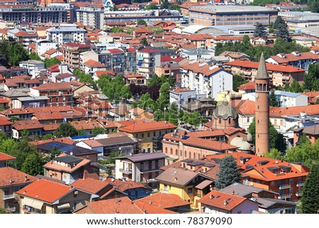 Aerial view on buildings and houses of Alba - town in Piedmont, northern Italy.