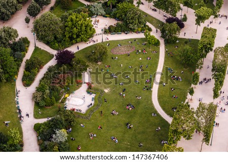 Aerial View on Champs de Mars from the Eiffel Tower, Paris, France - stock photo