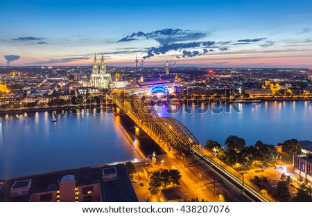 Aerial view on Cologne at sunset
