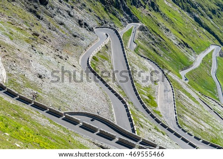 Aerial view on famous road in mountains Alps Passo Stelvio
