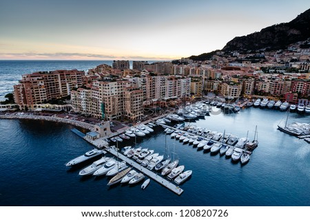 Aerial View on Fontvieille and Monaco Harbor with Luxury Yachts, French Riviera - stock photo