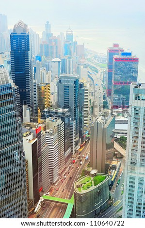 Aerial view on Hong Kong street - stock photo
