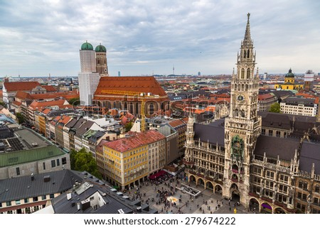 Aerial view on Marienplatz town hall and Frauenkirche in Munich, Germany - stock photo